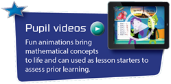 Pupil videos - Fun animations bring mathematical concepts to life and can be used as lesson starters to assess prior learning.