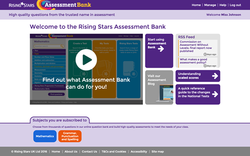 Rising Stars Assessment Bank primary tests and lesson starters