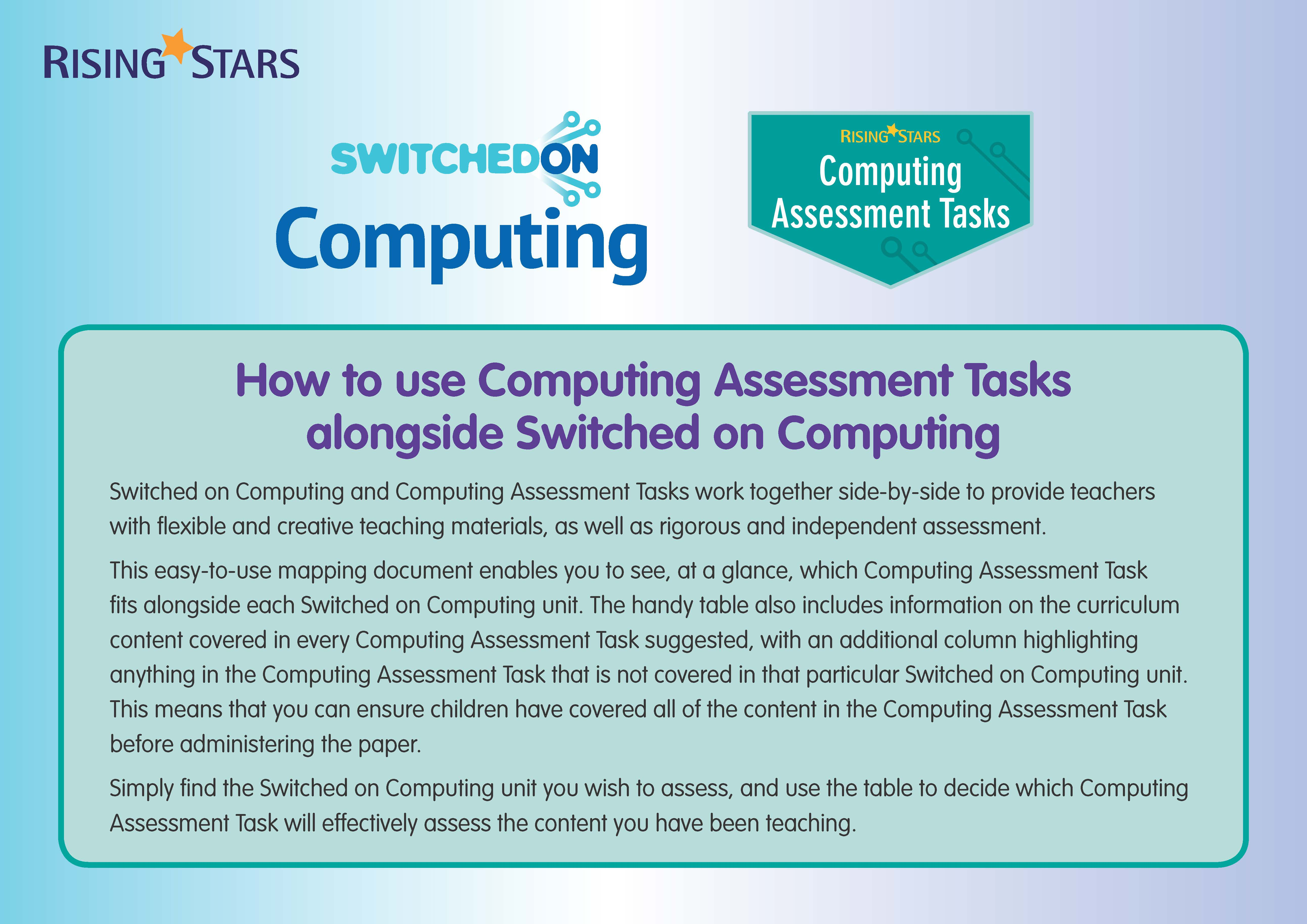 Using Switched on Computing alongside Computing Assessment Tasks