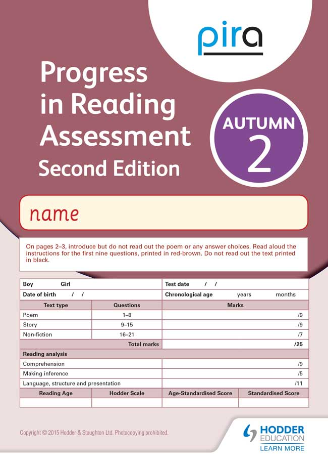Pira Reading Tests For Pupil Assessment  Rising Stars
