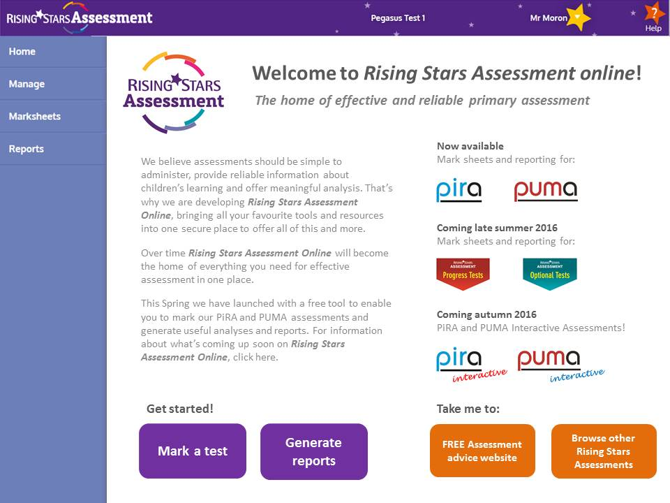 Access is FREE for all user schools via the newly launched Rising Stars Assessment  Online site.
